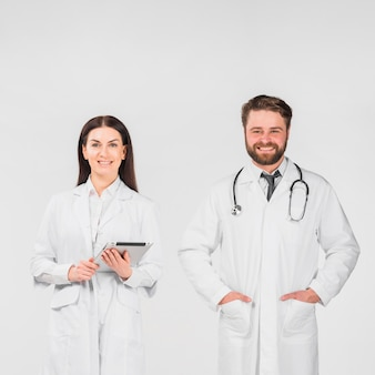 Doctors man and woman standing together