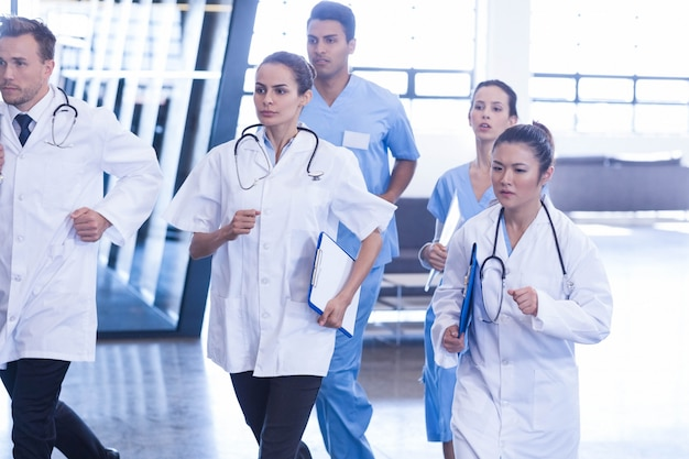 Doctors and nurses rushing for emergency in hospital