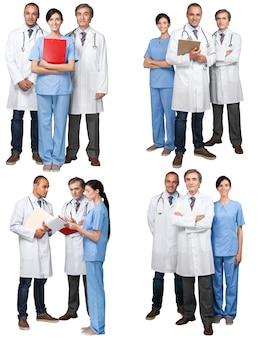 Команда врачей вместе в современной больнице, коллаж