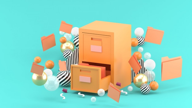 A document cabinet surrounded by colorful balls on blue. 3d rendering.
