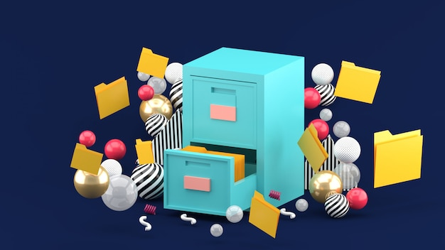 A document cabinet surrounded by colorful balls on dark blue. 3d rendering.
