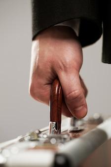 Document case in businessman hands