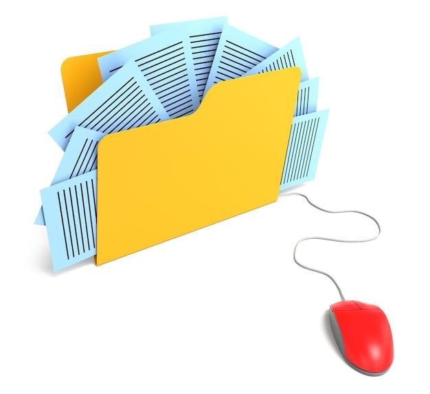 마우스에 연결된 문서 폴더. 3d 렌더링