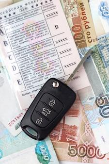 車のキーとお金と運転免許証を文書化する