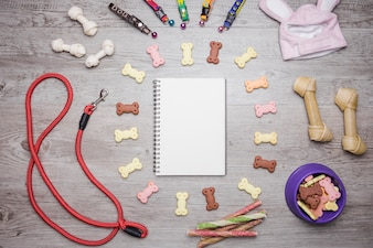 Dog accessories snacks and notebook set