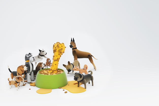 Dog activity 3d illustration
