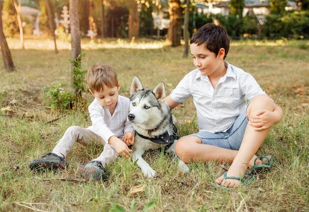 一緒に楽しんでいる犬と面白い子供たち。犬の散歩とかわいい子供たち