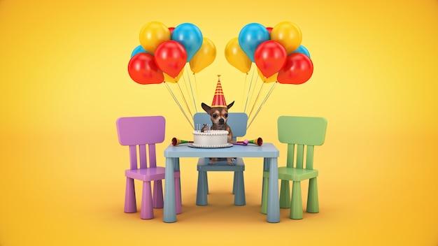 犬の誕生日パーティーの3dレンダリング