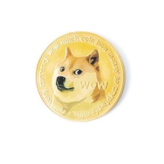 흰색 배경에 고립 된 개 dogecoin 로고