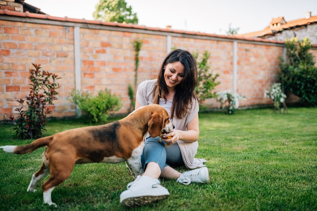Dog eating delicious food given to him by beautiful young woman outdoors.