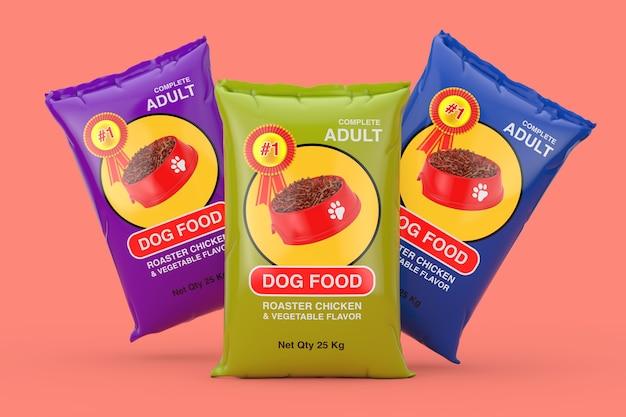 분홍색 배경에 개밥 가방 패키지 디자인. 3d 렌더링