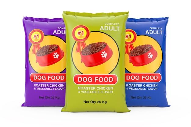 흰색 바탕에 개밥 가방 패키지 디자인입니다. 3d 렌더링