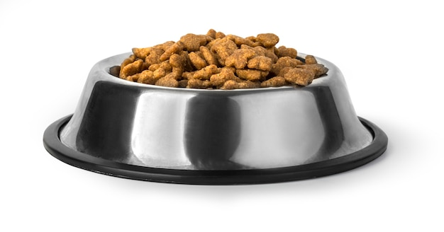 Dog food in bowl, isolated on white