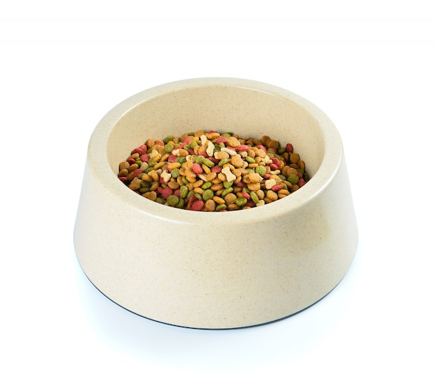 Dog food in bowl isolated