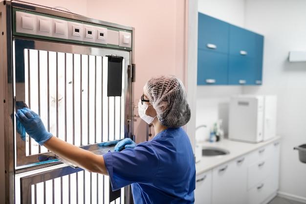 Собака в коробке. ветеринар в маске забирает собаку из специального бокса для медицинских процедур