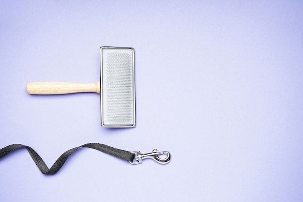 Dog leash with carabiner and grooming brush on a purple background, flat lay.
