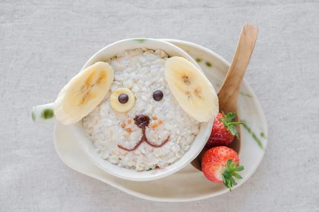 Dog oatmeal porridge breakfast, fun food art for kids