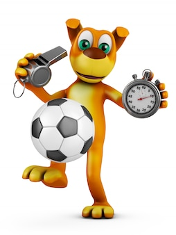 The dog plays with a soccer ball and holds a whistle and a stopwatch. 3d rendering.