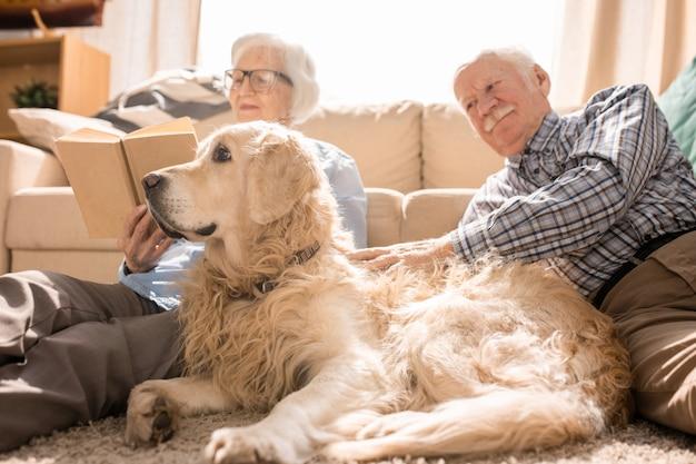 Dog posing with senior couple