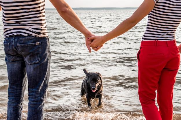 Собака выбегает из воды. мужчина и женщина, держась за руки. концепция собака в семье.
