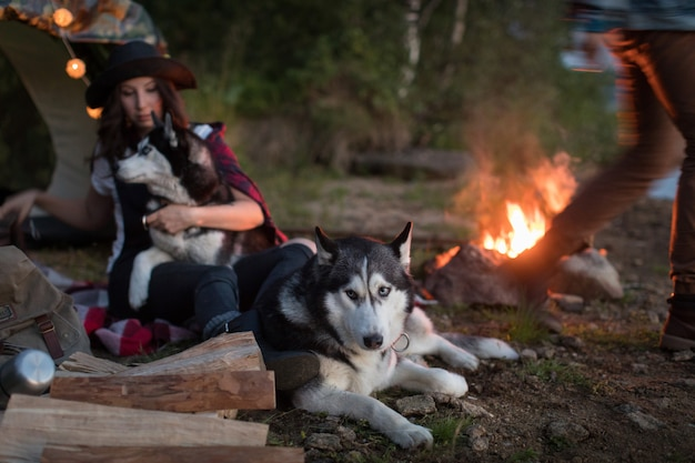 Dog sits by the fire with the hosts and husky