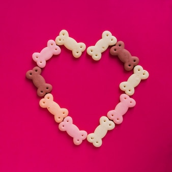 Dog snacks in heart shape