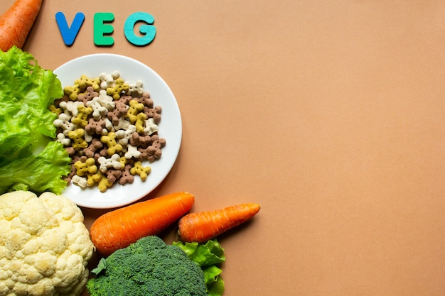 Dog vegetarian dry crunchies on plate and vegetables on beige background with copy space
