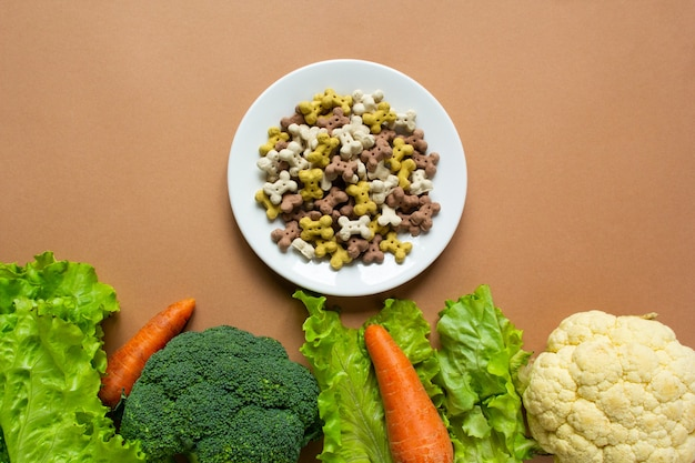 Dog vegetarian dry crunchies on plate and vegetables on beige surface with copy space