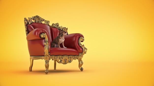 Собака с короной в кресле 3d-рендеринга