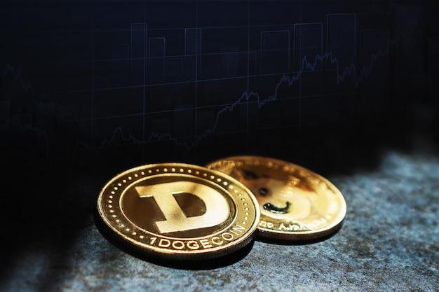 성장 그래프의 배경에 대해 어둠 속에서 클로즈업된 dogecoin 암호 화폐 동전