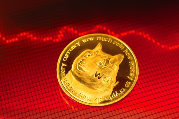 ドージコイン暗号通貨危機の概念、価値価格が下がる、暗号コインのコストが下がる、背景に矢印が付いた赤い株価チャートグラフ