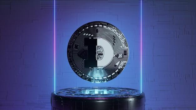 Dogecoin в футуристической комнате будущего с неоновым освещением. концепция криптовалюты. 3d иллюстрация