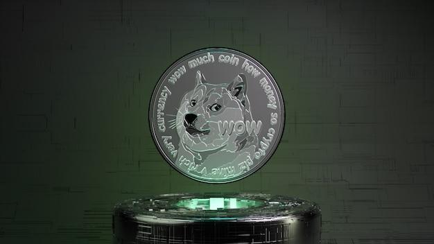 네온 조명이 있는 미래 지향적인 방에 있는 dogecoin. 암호 화폐 개념입니다. 3d 그림