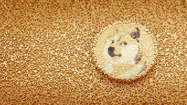 큐브 픽셀 abtract 배경 개념 crytocurrency 3d 그림에 dogecoin 로고
