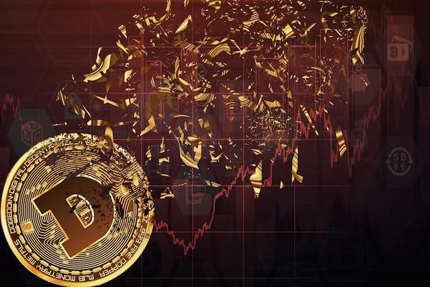 그래픽의 배경에 있는 dogecoin, 입자로 무너지는 동전
