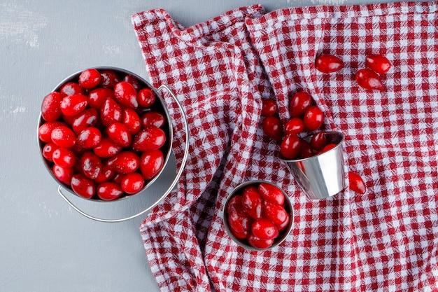 漆喰とピクニック布、上面にバケツでハナミズキの果実。
