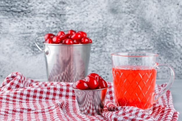 ハナミズキの果実のバケツでドリンク、石膏と汚れたピクニック布の側面図