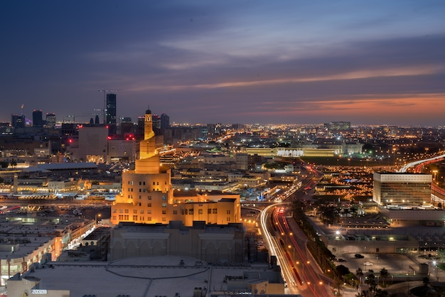 Doha city illuminated high view landscape