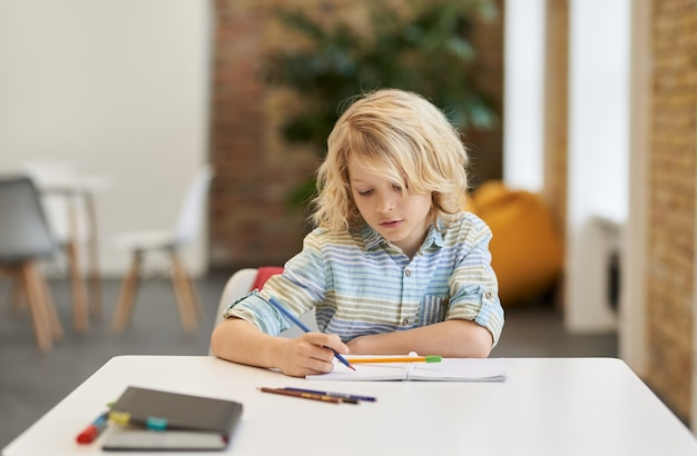책상에 앉아 있는 동안 노트북에 글을 쓰는 똑똑한 작은 학교 소년