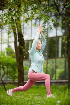 Doing yoga exercise