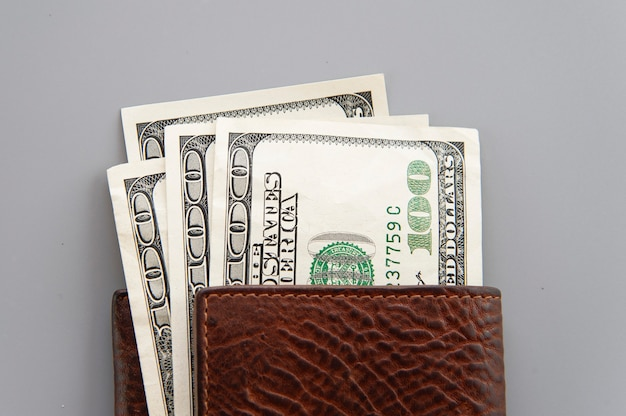 Dolars in wallet on gray background