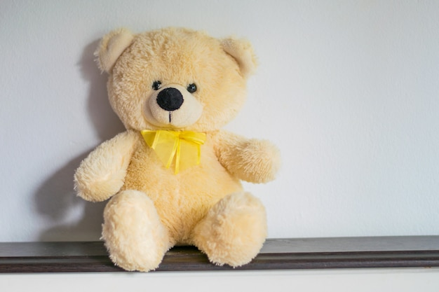 Doll bear sitting alone on white