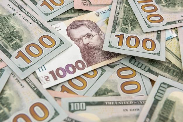 달러와 흐 리브 냐 현금 환전. 금융 투자. 돈 개념