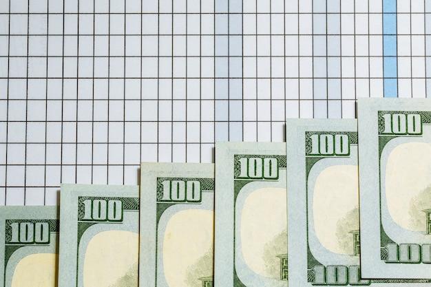 ドル。お金の背景。テーブルの上のアメリカのドル札。お金。通貨。現金。世界の主要通貨。