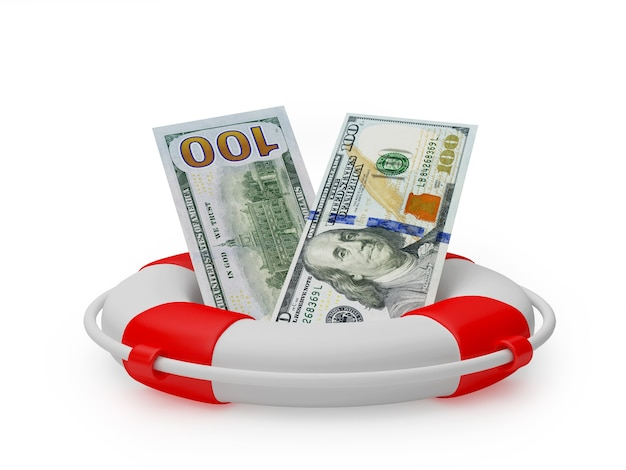Долларовые банкноты в спасательный круг 3d визуализации