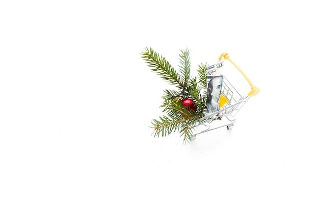 흰색 배경 복사 공간에 작은 쇼핑 트롤리에 달러 지폐와 가문비 나무 지점