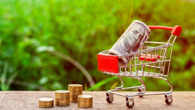 Dollar bill in a shopping cart