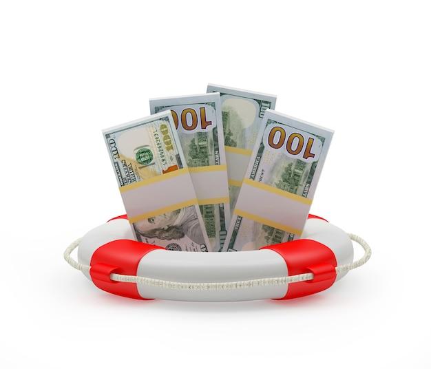 Долларовые купюры в спасательном круге