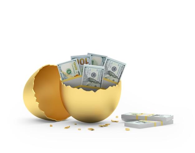 Долларовые купюры в золотом разбитом яйце, изолированные на белом фоне