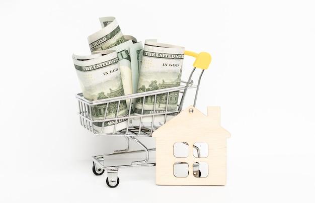 Долларовые банкноты в тележке для покупок на белом фоне. идея: продажа товаров, скидки, покупка продажа, поход в магазин